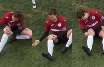 Kadın futbolcu yerinden çıkan diz kapağını yumruklayarak yerine taktı!